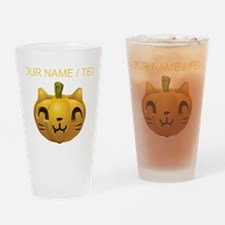 Custom Cat Jackolantern Drinking Glass