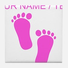 Custom Pink Baby Feet Tile Coaster