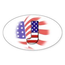 Flag Monogram J Oval Decal