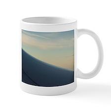 Airplane flying in sky wing in flight  Mug