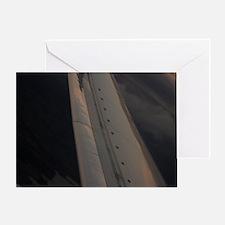 Airplane flying in sky wing in fligh Greeting Card