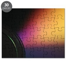 Closeup macro photo of shiny underside cd d Puzzle