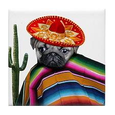 Mexican pug dog Tile Coaster