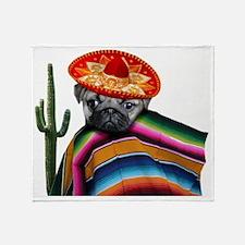 Mexican pug dog Throw Blanket