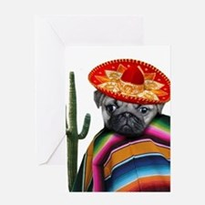Mexican pug dog Greeting Cards