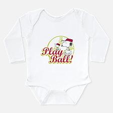 Play Ball Snoopy Long Sleeve Infant Bodysuit