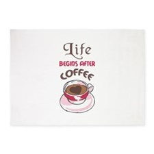 LIFE BEGINS AFTER COFFEE 5'x7'Area Rug