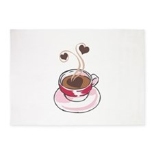 COFFEE CUP AND HEARTS 5'x7'Area Rug