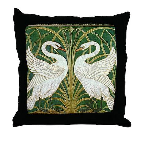 SWANS GREEN Throw Pillow