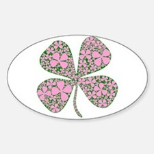Pink Green Lucky Clover Oval Decal