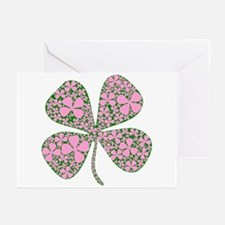 Pink Green Lucky Clover Greeting Cards (Package of