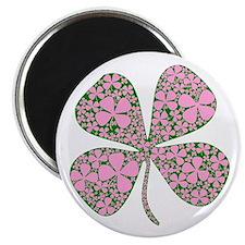 """Pink Green Lucky Clover 2.25"""" Magnet (10 pack)"""