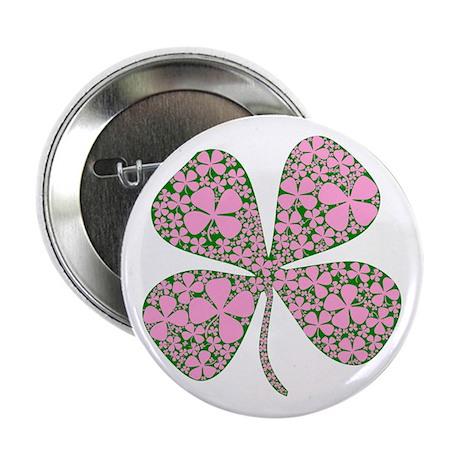 Pink Green Lucky Clover Button