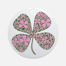 Pink Green Lucky Clover Ornament (Round)