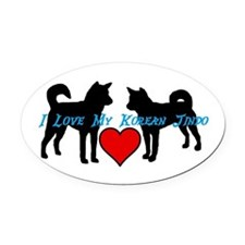 I love My Korean Jindo Oval Car Magnet