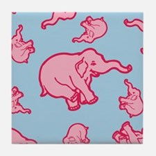 Pink Elephant Pattern Tile Coaster
