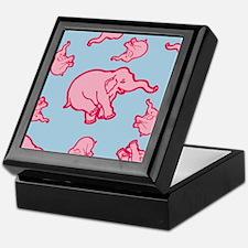 Pink Elephant Pattern Keepsake Box