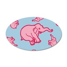 Pink Elephant Pattern Wall Decal