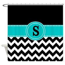 Black Teal Chevron Monogram Shower Curtain