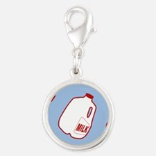 Milk Jugs Pattern Silver Round Charm