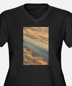 Airplane flying in sky wing in f Plus Size T-Shirt