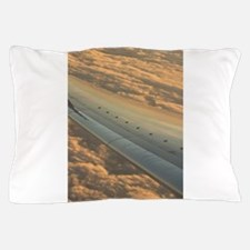 Airplane flying in sky wing in flight Pillow Case