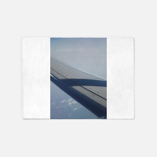 Airplane flying in sky wing in flig 5'x7'Area Rug