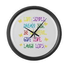 Cute Live laugh love Large Wall Clock