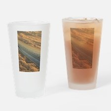 Airplane flying in sky wing in flig Drinking Glass
