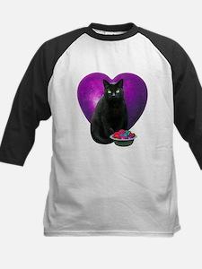 Cat Purple Heart Kids Baseball Jersey