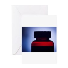 Vitamin pill bottle silhouette phot Greeting Cards