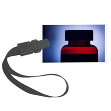 Vitamin pill bottle silhouette p Luggage Tag