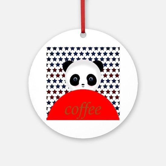 Coffee Panda Bear Ornament (Round)