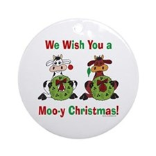 Cow Ornament (Round): Moo-y Christmas