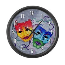 Comedy Tragedy Large Wall Clock