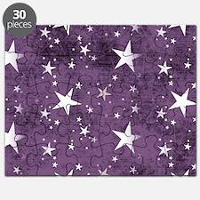 Dark Purple White Stars Pattern Puzzle