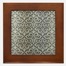 Metallic Gray Swirl Pattern Framed Tile