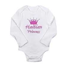 Cute Haiti map Long Sleeve Infant Bodysuit