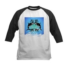 Funny orcas with water splash Baseball Jersey