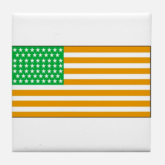 Irish American Flag 2 Tile Coaster