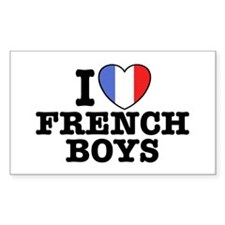 I Love French Boys Rectangle Decal