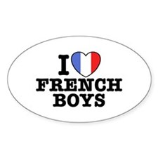 I Love French Boys Oval Decal