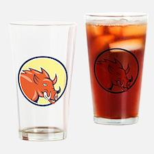 Razorback Head Charge Circle Cartoon Drinking Glas