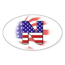 Flag Monogram N Oval Decal