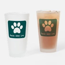 Rescue Adopt Love (Teal) Drinking Glass