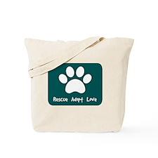 Rescue Adopt Love (Teal) Tote Bag