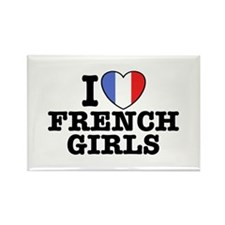I Love French Girls Rectangle Magnet
