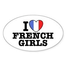 I Love French Girls Oval Decal