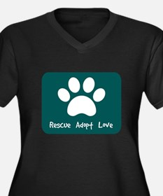 Rescue Adopt Love (Teal) Plus Size T-Shirt