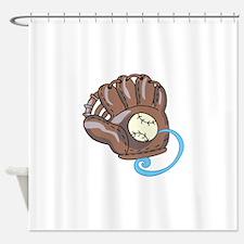 Baseball Glove& Ball Shower Curtain